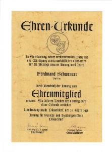 Ehrenurkunde Ferdinand Schwenzer