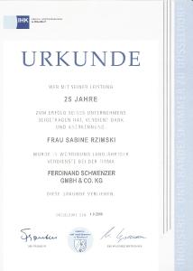 Jubiläen Betriebszugehörigkeit 25 Jahre