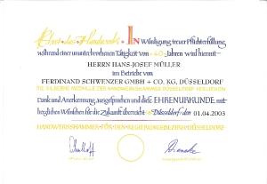 Jubiläen Betriebszugehörigkeit über 25 Jahre